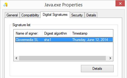 java.exe-signature